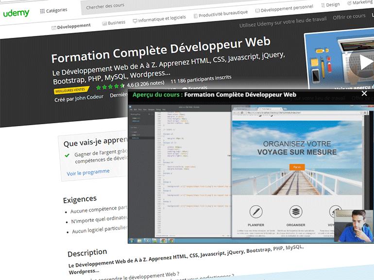Test de la formation Développeur Web Udemy