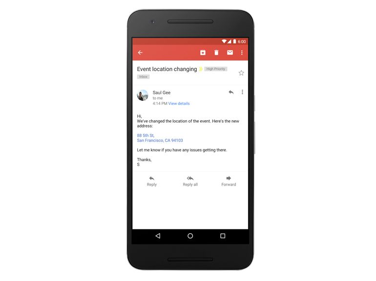 Android : Gmail transforme enfin les adresses et numéros en liens cliquables