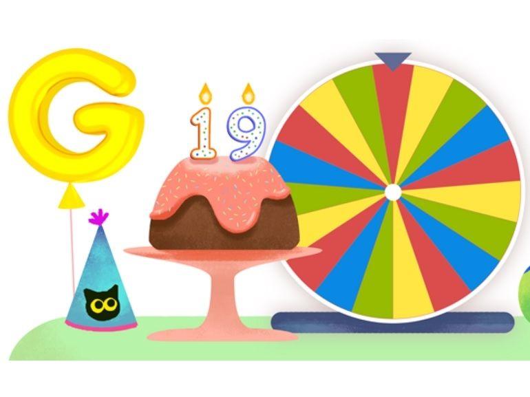 Google fête ses 19 ans avec une roue de la Doodle fortune