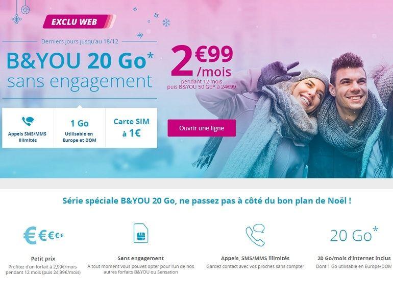 Bouygues Telecom prolonge le forfait B&You 20 Go à moins de 3€ jusqu'à Noel