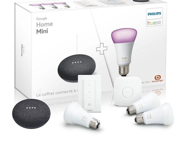 Bon plan : pack Google Home Mini avec 3 ampoules Philips HUE à 189€ au lieu de 258€