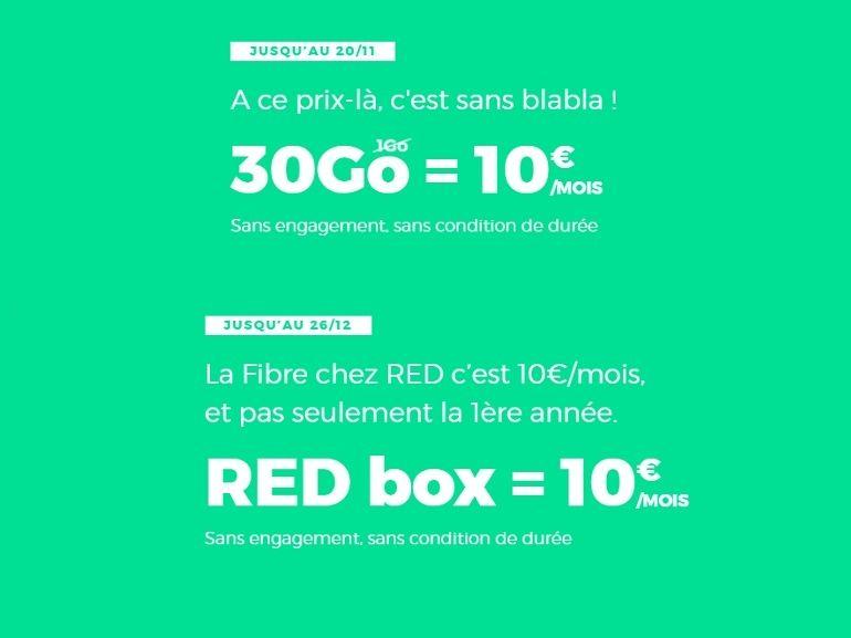 10 € par mois, ce que demande RED by SFR pour un forfait 30 Go ou de la fibre