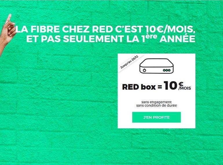 La box Fibre ou ADSL RED by SFR à 10€ / mois, une offre valable jusqu'à Noel