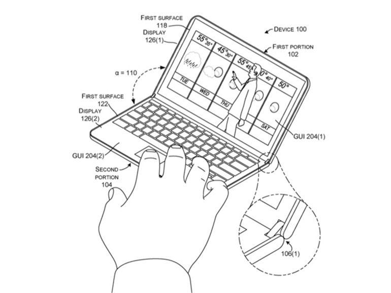Microsoft : un brevet montre à nouveau un smartphone / tablette pliable