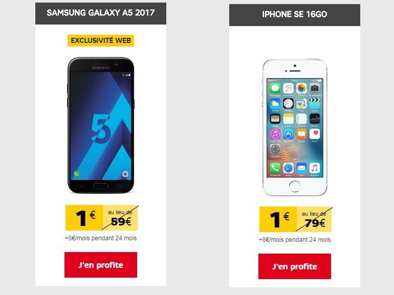 SFR : les Samsung Galaxy A5 (2017) et iPhone SE sont à 1€ avec le forfait Power 10 Go
