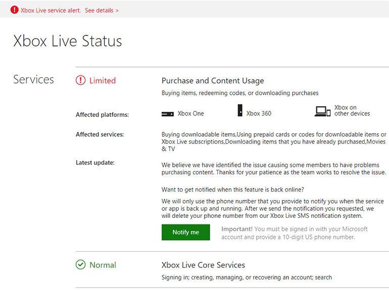 Xbox Live : certains services sont en panne, Microsoft y travaille