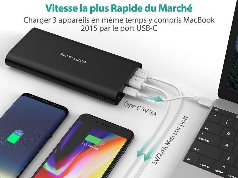 Bon plan : batterie externe 26800mAh RAVPower pour smartphone et MacBook à 36€ (-25%)