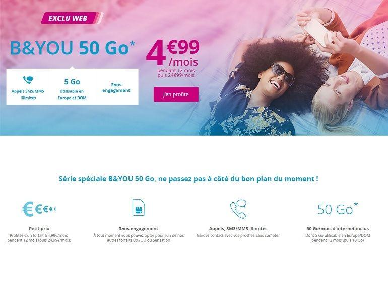 [MaJ] B&You / Bouygues : derniers jours pour profiter du forfait 50 Go à 4,99 €