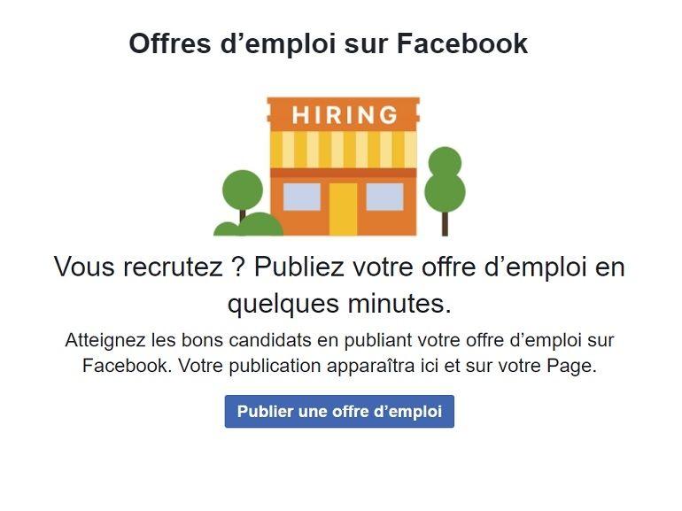 Les offres d'emploi arrivent sur Facebook en France
