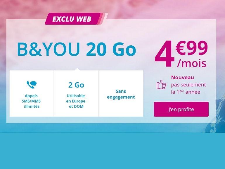 Bon Plan : 20 Go, appels et SMS illimités pour 4,99 euros chez B&You
