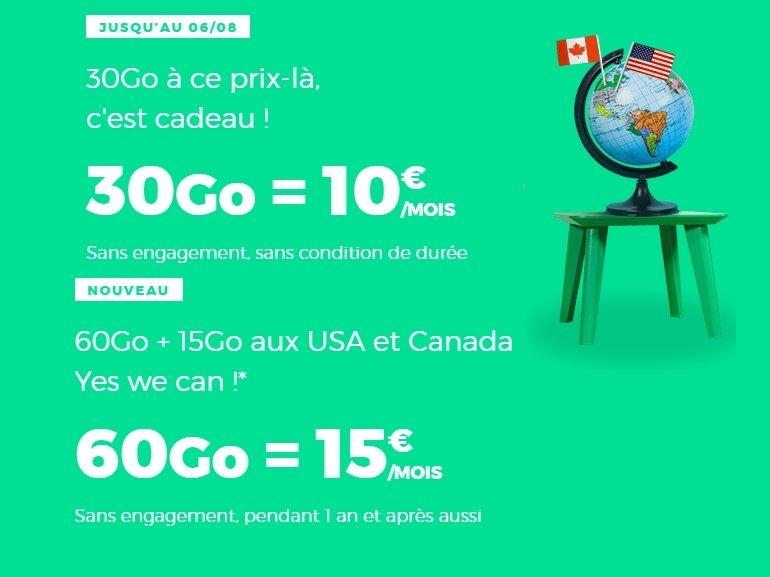 RED by SFR multiplie les promotions, le forfait mobile 60 Go est à 15€, le 30 Go à 10