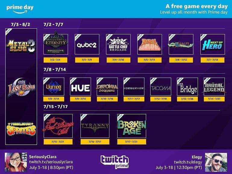 Twitch Prime : des jeux gratuits tout au long du mois de juillet pour les abonnés Amazon Prime