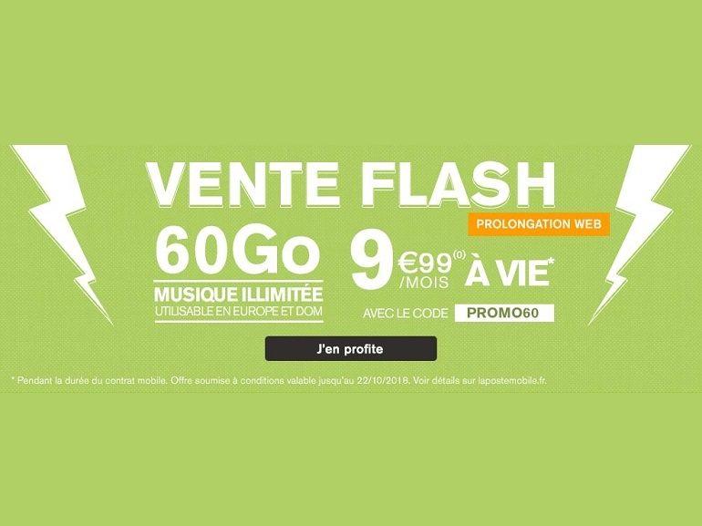 Dernier jour : le forfait mobile 60 Go à 9,99 euros de la Poste Mobile prendra fin ce soir