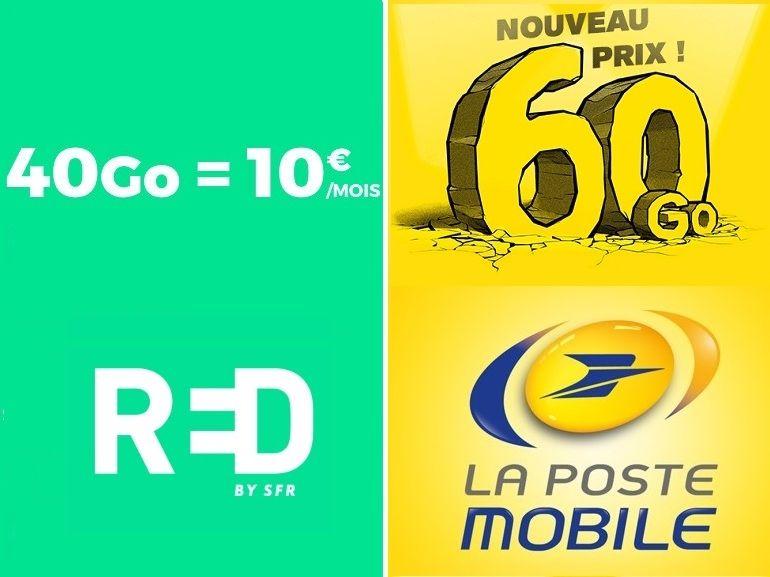 RED by SFR et La Poste Mobile, quel forfait mobile à 10 euros choisir ?