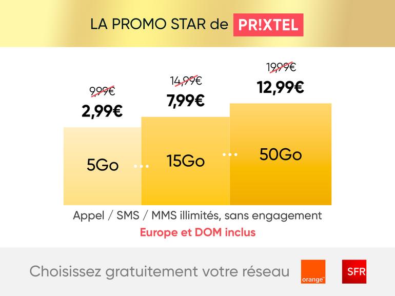 Opération promo chez Prixtel : le forfait mobile jusqu'à 50 Go à partir de 2,99€/mois pendant 6 mois