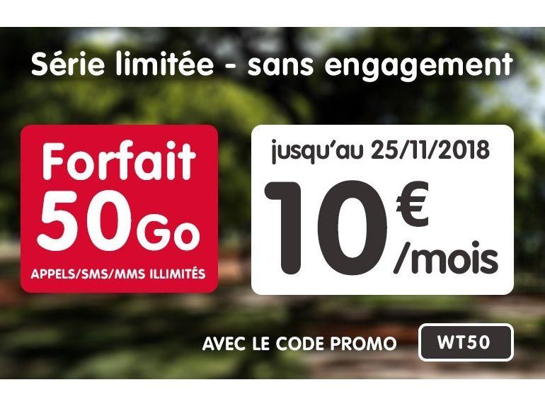 """NRJ Mobile : le forfait 50 Go est à 10 euros, sans engagement et """"à vie"""""""