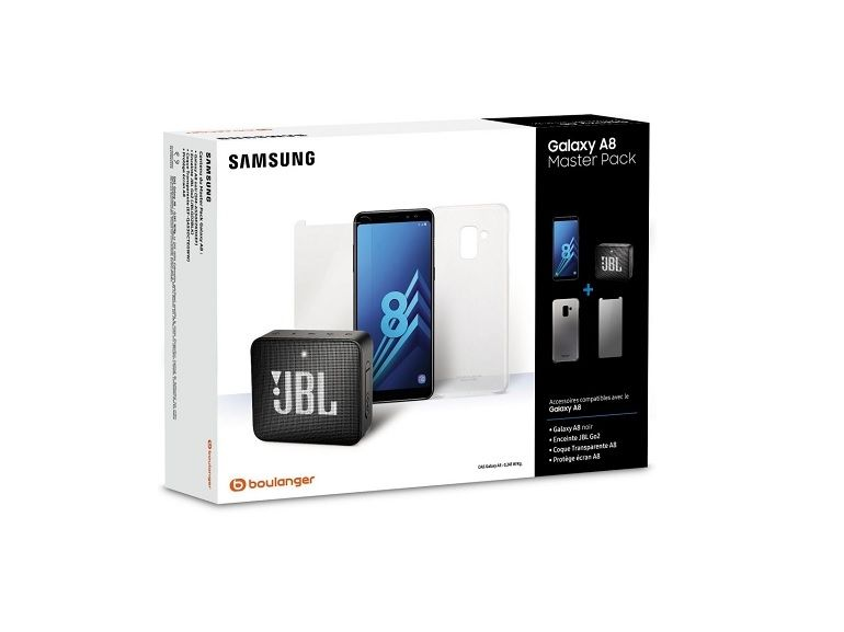 Bon plan : le pack Galaxy A8 + enceinte JBL Go + coque + verre de protection à 249€