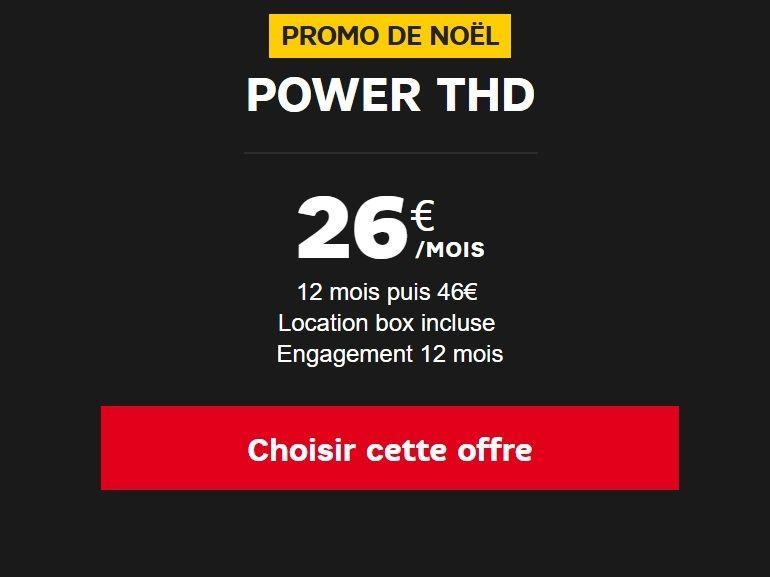 SFR : pour Noël la box internet fibre 1 Gb/s est 26€ par mois au lieu de 46