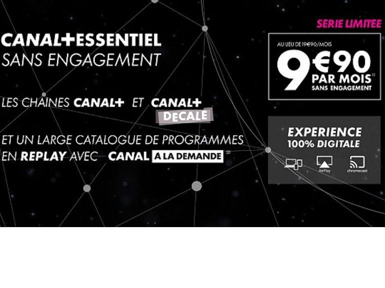 Bon plan : Canal+ Essentiel à 9,90€ / mois sans engagement au lieu de 19,90