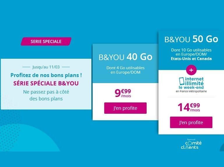Bouygues Telecom (B&You) prolonge ses forfaits 40 et 50 Go à 9,99€ et 14,99€