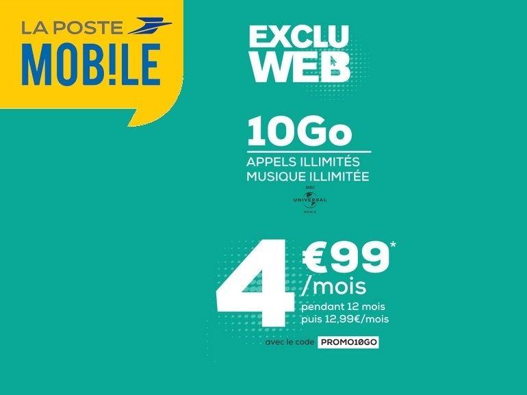 Le forfait mobile 10 Go à 4,99€  de La Poste Mobile prenda fin ce soir