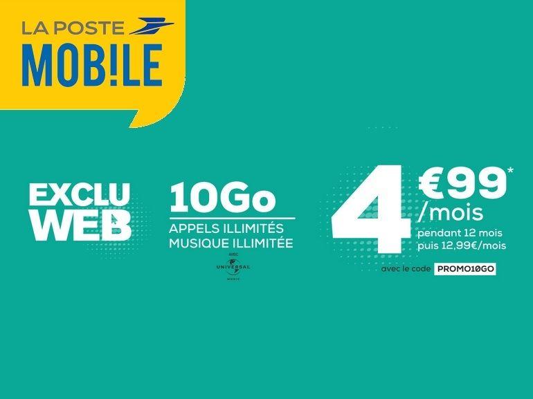 La Poste Mobile propose son forfait 10 Go à 4,99€ au lieu de 12,99