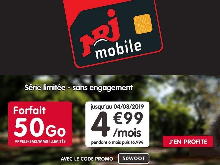 NRJ Mobile : le forfait 50 Go est à 5 euros...durant 6 mois