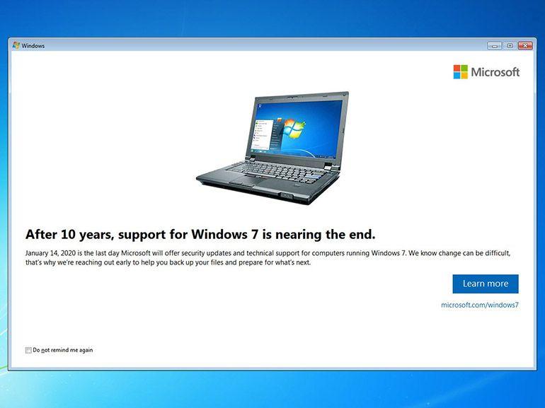 Fin de Windows 7 : voici à quoi vont ressembler les notifications