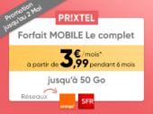 Forfait Prixtel Le Complet : 5 Go pour seulement 3,99 euros par mois