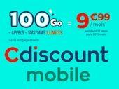 Le forfait mobile 100 Go de Cdiscount passe à 10€ / mois au lieu de 20