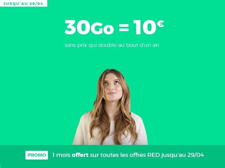 Forfait mobile : RED by SFR prolonge son 30 Go à 10 € avec un mois offert