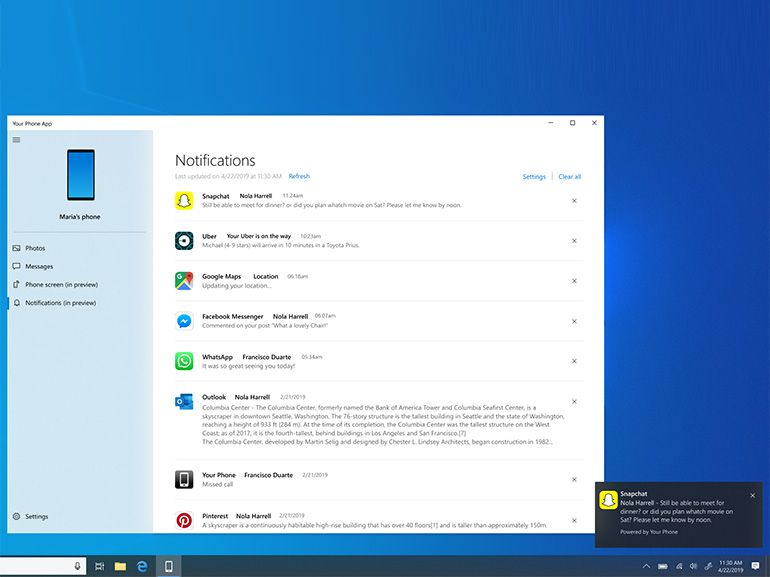 Windows 10 : Microsoft teste la synchronisation des notifications Android