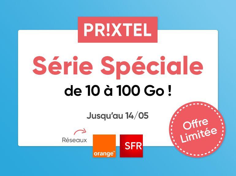 Promo choc chez Prixtel : le forfait Série Spéciale jusqu'à 100 Go à partir de 4,99 euros/mois