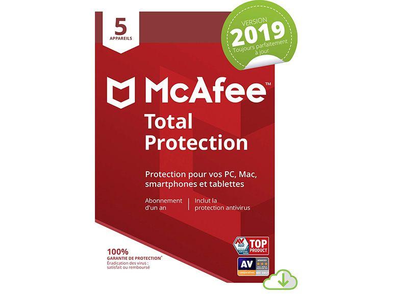 Bon plan : une licence McAfee Total Protection 2019 pour 5 appareils à 12,99€