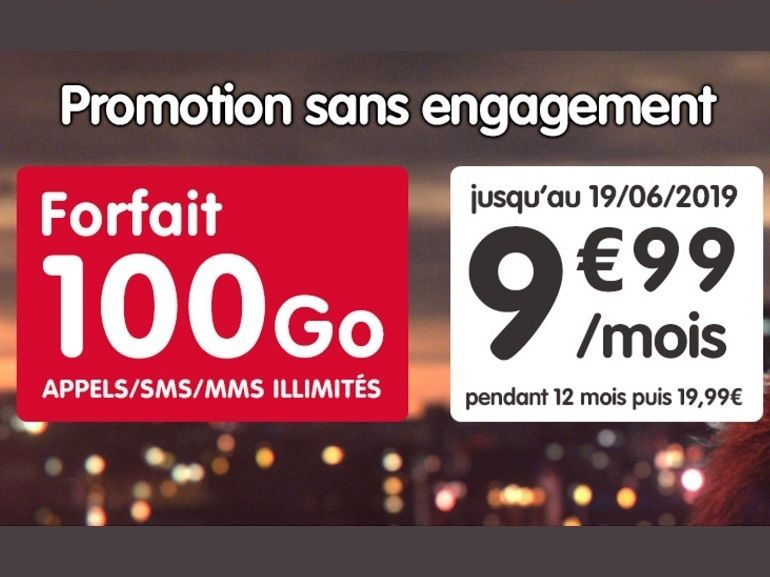 Le forfait NRJ Mobile 100 Go est à 9,99 euros au lieu de 19,99