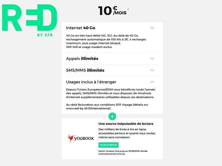 Forfait mobile : RED by SFR prolonge son offre 40 Go à 10 €