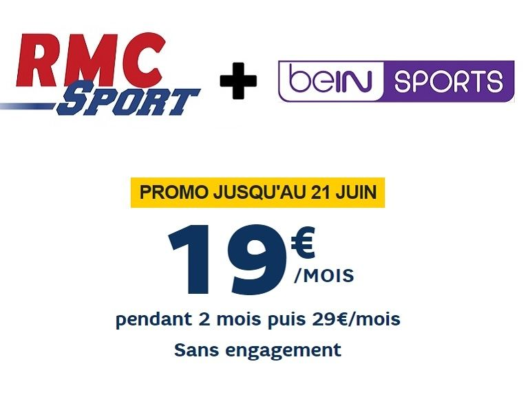 RMC Sport + beIN Sports à seulement 19 euros par mois !