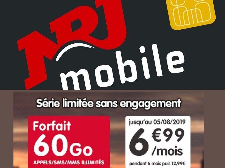 NRJ Mobile : le forfait 60 Go est à 7€ durant 6 mois, mais même après il demeure intéressant