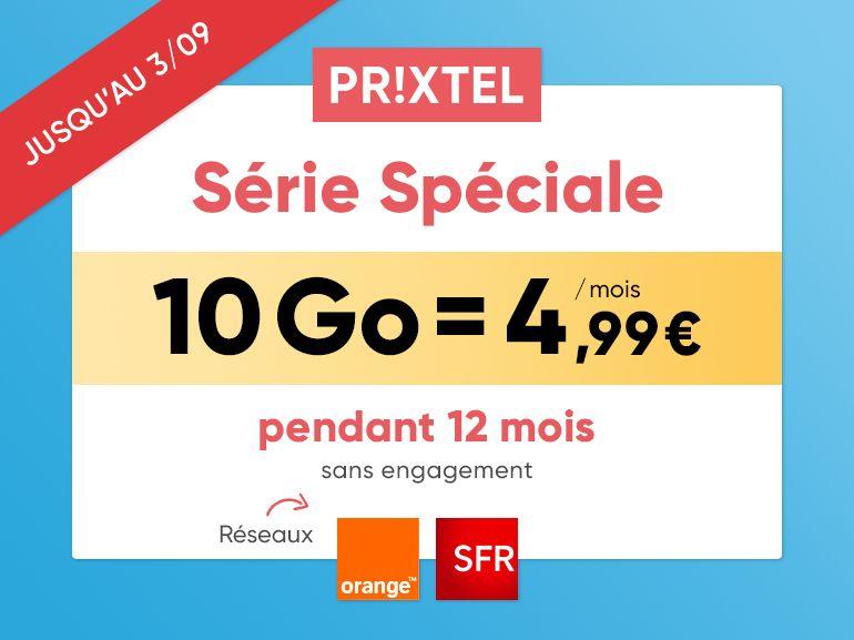 Forfait mobile Prixtel : jusqu'à 100Go dès 4€99/mois, réseau Orange ou SFR au choix