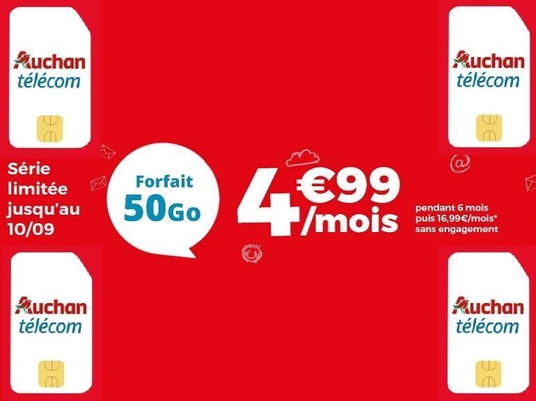 Auchan Télécom relance son forfait 50 Go à 4.99 euros