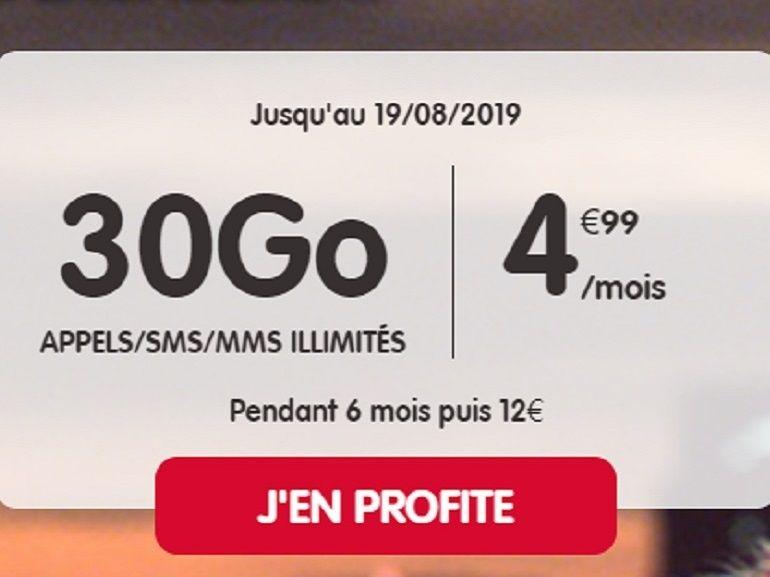 NRJ Mobile propose un forfait 30 Go à 4.99 euros