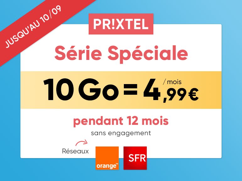 Forfait mobile Prixtel : plus que 3 jours pour profiter de l'offre 10 Go à 4,99 euros/mois