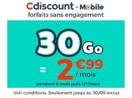 Cdiscount : un forfait mobile 30 Go à 2,99€ (pendant 6 mois...)
