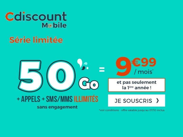 Le forfait mobile 50 Go de Cdiscount passe à 10€, sans condition de durée