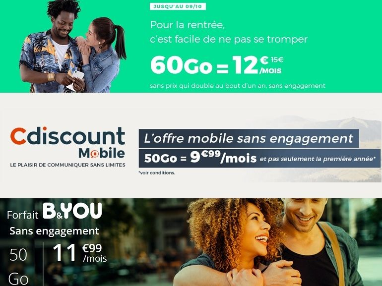 Quel forfait mobile choisir ce week-end : RED by SFR, B&You ou Cdiscount ?
