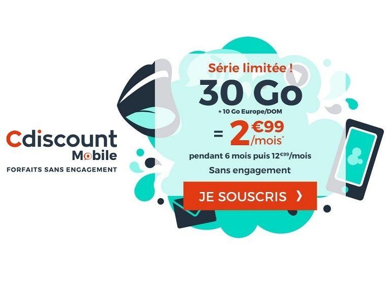 Forfait mobile : ce que vaut l'offre 30 Go + 10 Go pour l'Europe à 2,99 € de Cdiscount Mobile