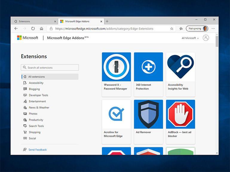 Microsoft Edge Chromium : des extensions en plus grand nombre ?