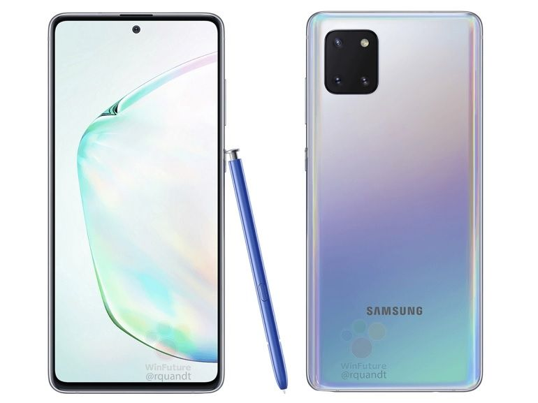 Samsung Galaxy Note 10 Lite : des rendus presse le montrent avec un stylet et un bloc photo carré