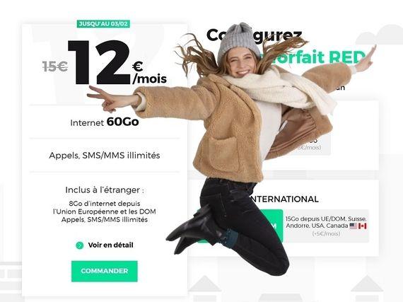 Forfait mobile RED : la promo sur l'offre 60 Go à 12€ est toujours en ligne