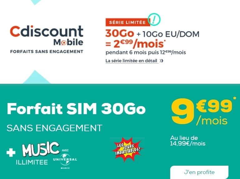 Cdiscount Mobile ou La Poste Mobile : quel est le meilleur forfait 30 Go à moins de 10 euros ?
